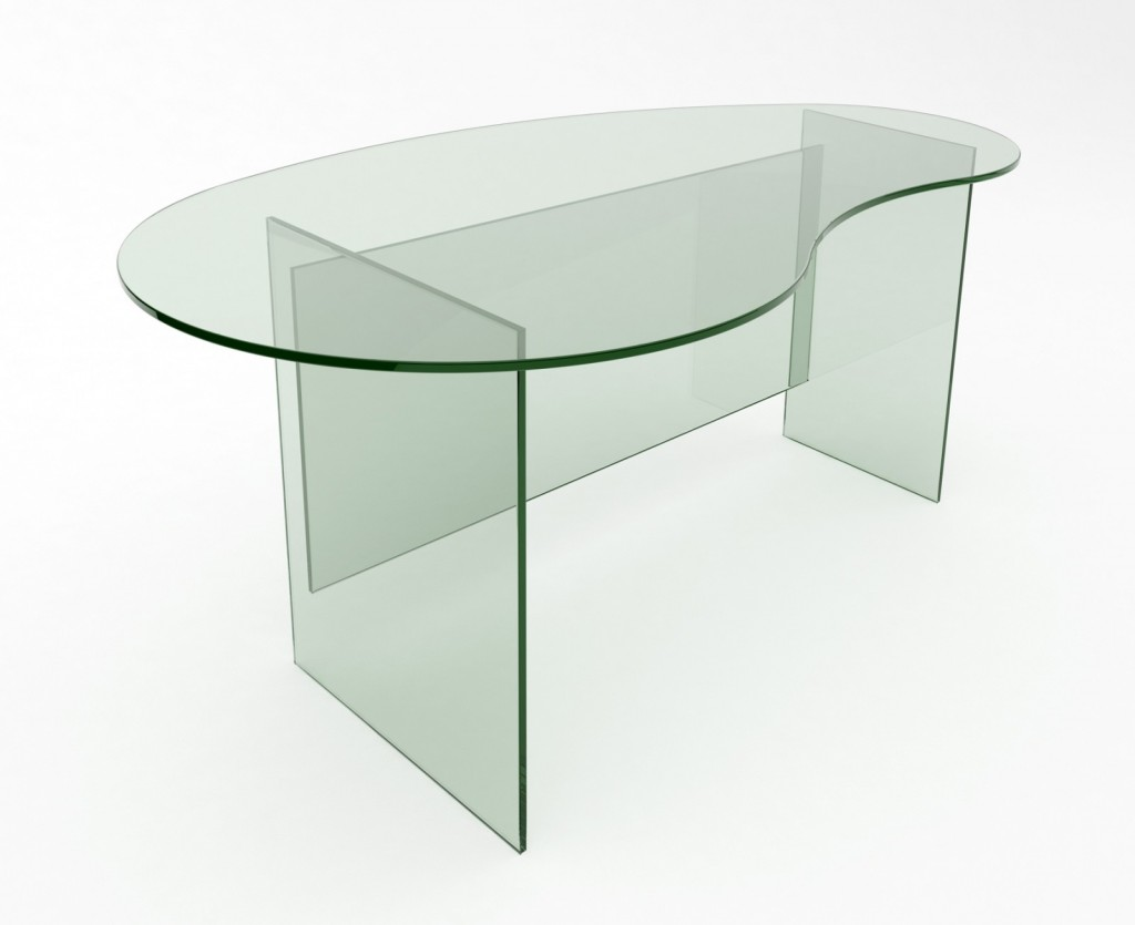 Kidney Shaped Glass Top Coffee Table Athos glass desk
