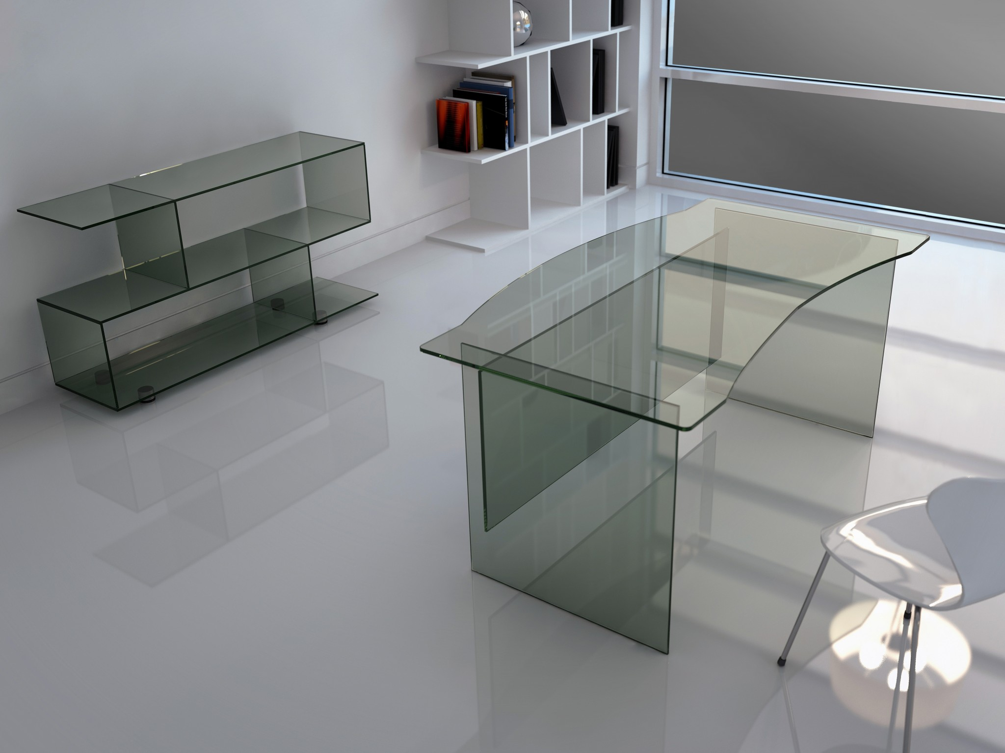 Glasslab Glass Desk